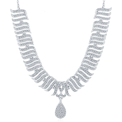 Sukkhi Pleasing Rhodium Plated AD Necklace Set For Women-3
