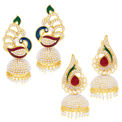 Sukkhi Finely Peacock Jhumki Gold Plated Set of 2 Pair Earring Combo For Women