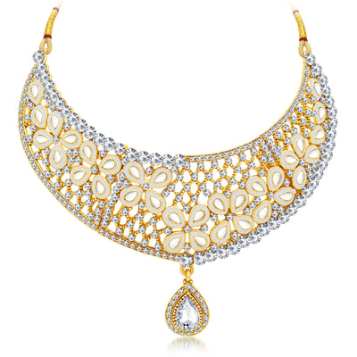 Sukkhi Youthful Gold Plated AD Necklace Set For Women-1