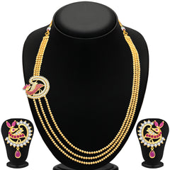 Pissara Divine 3 String Peacock Gold Plated CZ Necklace Set For Women