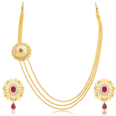 Pissara Cluster 3 String Gold Plated CZ Necklace Set For Women-1