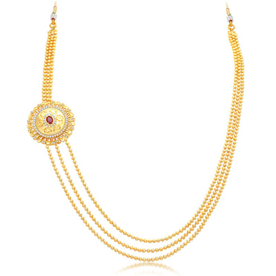 Pissara Cluster 3 String Gold Plated CZ Necklace Set For Women-3