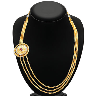 Pissara Cluster 3 String Gold Plated CZ Necklace Set For Women-2