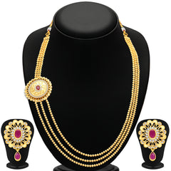 Pissara Cluster 3 String Gold Plated CZ Necklace Set For Women