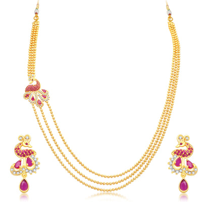 Pissara Gleaming Peacock 3 String Gold Plated CZ Necklace Set For Women-1