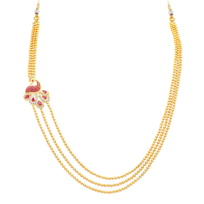 Pissara Gleaming Peacock 3 String Gold Plated CZ Necklace Set For Women-3