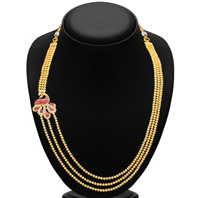 Pissara Gleaming Peacock 3 String Gold Plated CZ Necklace Set For Women-2