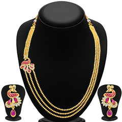 Pissara Gleaming Peacock 3 String Gold Plated CZ Necklace Set For Women