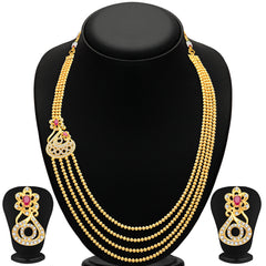 Pissara Bewitching 4 String Gold Plated CZ Necklace Set For Women
