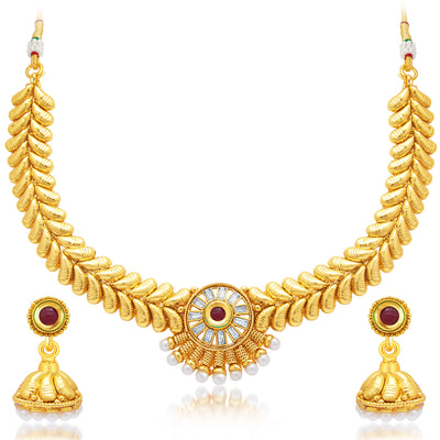 Sukkhi Angelic Gold Plated AD Necklace Set For Women