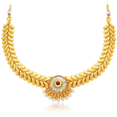 Sukkhi Angelic Gold Plated AD Necklace Set For Women-1