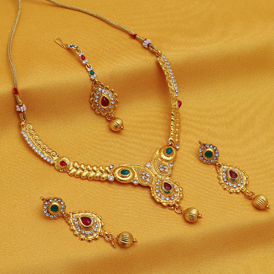 Sukkhi Gorgeous Gold Plated AD Necklace Set For Women