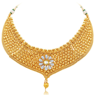 Sukkhi Sparkling Gold Plated AD Necklace Set For Women-1