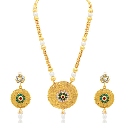 Sukkhi Dazzling Jalebi Gold Plated Necklace Set For Women