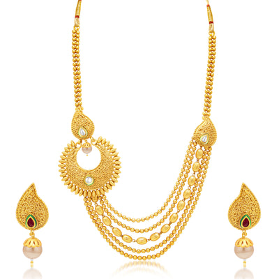 Sukkhi Sublime 5 String Gold Plated Kundan Necklace Set For Women