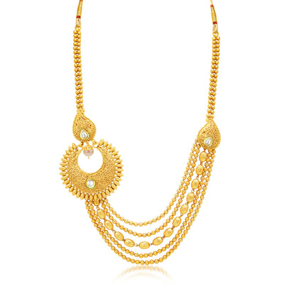 Sukkhi Sublime 5 String Gold Plated Kundan Necklace Set For Women-1