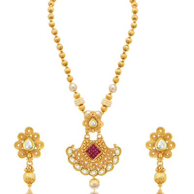 Sukkhi Shimmering Jalebi Gold Plated Kundan Necklace Set For Women