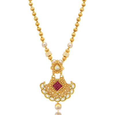 Sukkhi Shimmering Jalebi Gold Plated Kundan Necklace Set For Women-1