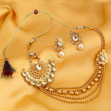 0019 Sukkhi Ritzy Jalebi 5 String Gold Plated Kundan Necklace Set For Women
