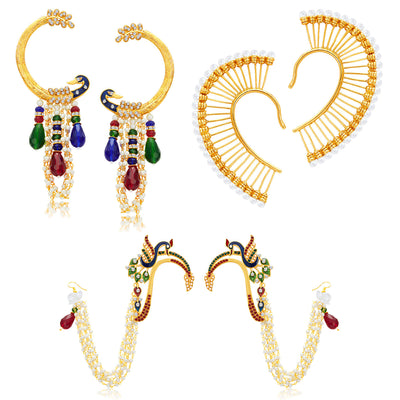 Sukkhi Fashionable Peacock Gold Plated Set of 3 Pair Earring Combo For Women