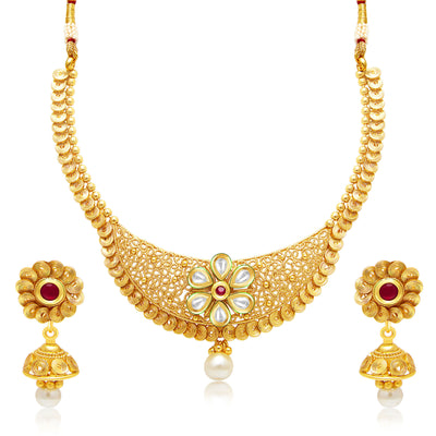 Sukkhi Modish Jalebi Gold Plated Kundan Necklace Set For Women
