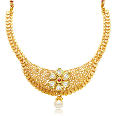 Sukkhi Modish Jalebi Gold Plated Kundan Necklace Set For Women-1