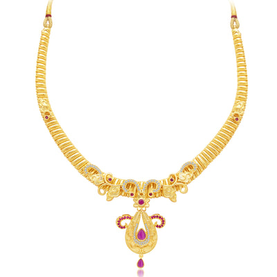 Sukkhi Modish Gold Plated AD Necklace Set For Women-1