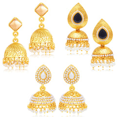 Sukkhi Eye-Catchy Jhumki Gold Plated Set of 3 Pair Earring Combo For Women