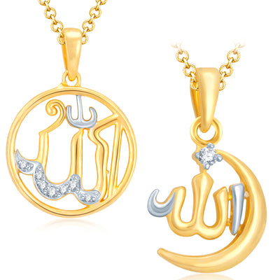 Sukkhi Enchanting Allah Gold Plated Set of 2 Pendant with chain Combo