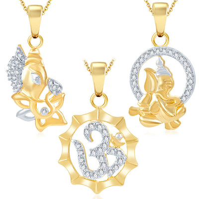 Pissara Ravishing Ganesha Gold Plated Set of 3 God Pendant with Chain Combo