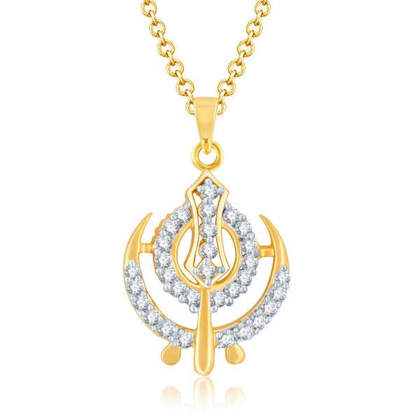 Pissara Stunning Gold and Rhodium Plated Cubic Zirconia Stone Studded God Pendant