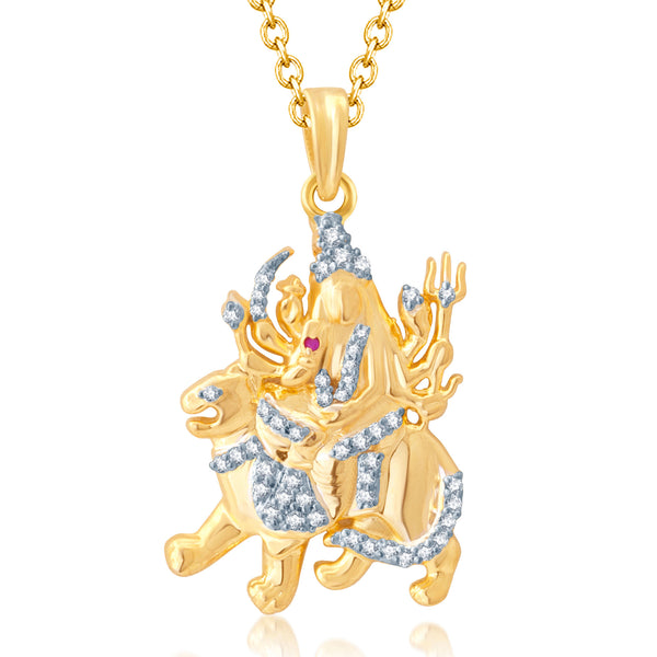 Pissara Gorgeous Gold and Rhodium Plated Cubic Zirconia Stone Studded God Pendant