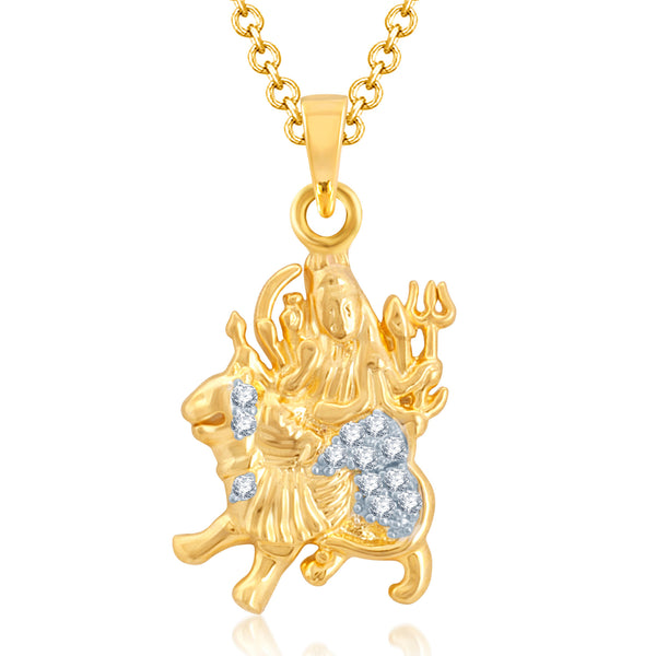 Pissara Sparkling Gold and Rhodium Plated Cubic Zirconia Stone Studded God Pendant