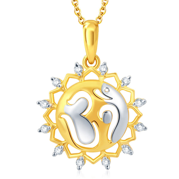 Pissara Fascinating Gold and Rhodium Plated CZ Om God Pendant With Chain