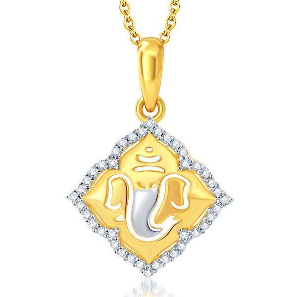 Pissara Modern Gold and Rhodium Plated CZ Ganesha God Pendant With Chain