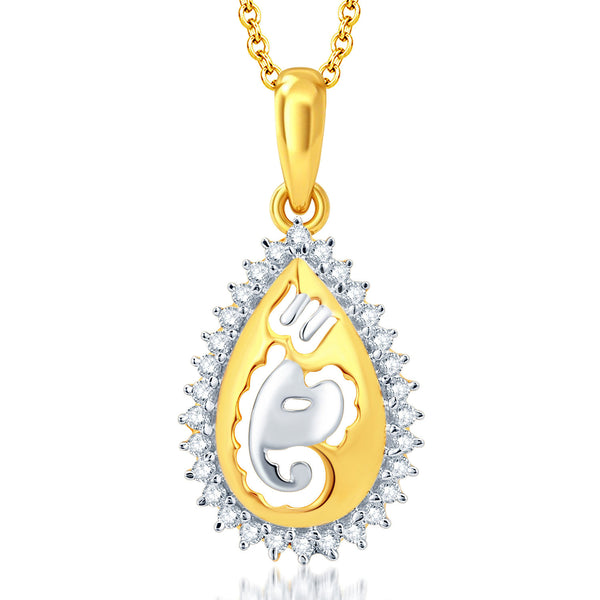 Pissara Stunning Gold and Rhodium Plated CZ Gnaesha God Pendant With Chain