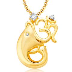 Pissara Om Ganesha Gold And Rhodium Plated CZ Pendant Set For Women