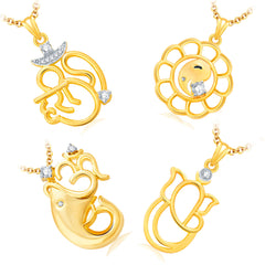 Pissara Pretty Ganesha Gold Plated Set of 4 God Pendant with Chain Combo