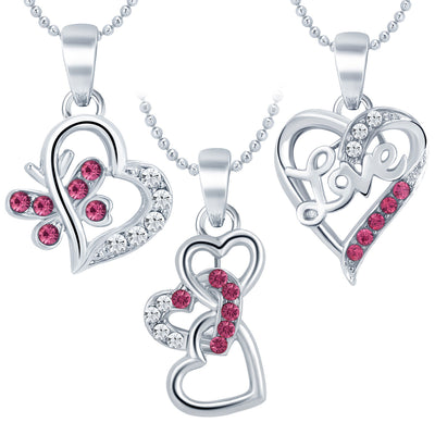 Sukkhi Delightly Heart Rhodium Plated AD Set of 3 Pendant Combo For Women