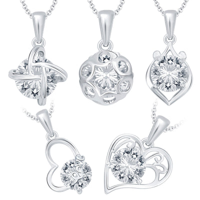 Pissara Magnificent Heart Rhodium Plated CZ Set of 5 Pendant Combo For Women
