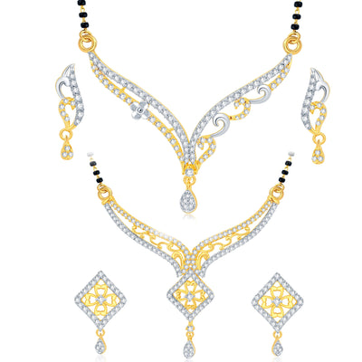 Pissara Luxurious Gold Plated CZ Set of 2 Mangalsutra Set Combo For Women