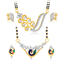 Pissara Traditionally Peacock Gold Plated CZ Set of 2 Mangalsutra Set Combo For Women