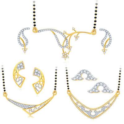 Pissara Exotic Gold Plated CZ Set of 3 Mangalsutra Set Combo For Women