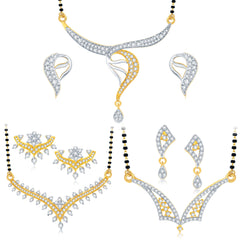 Pissara Classy Gold Plated CZ Set of 3 Mangalsutra Set Combo For Women