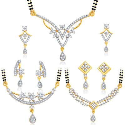 Pissara Intricately Crafted Gold Plated CZ Set of 3 Mangalsutra Set Combo For Women
