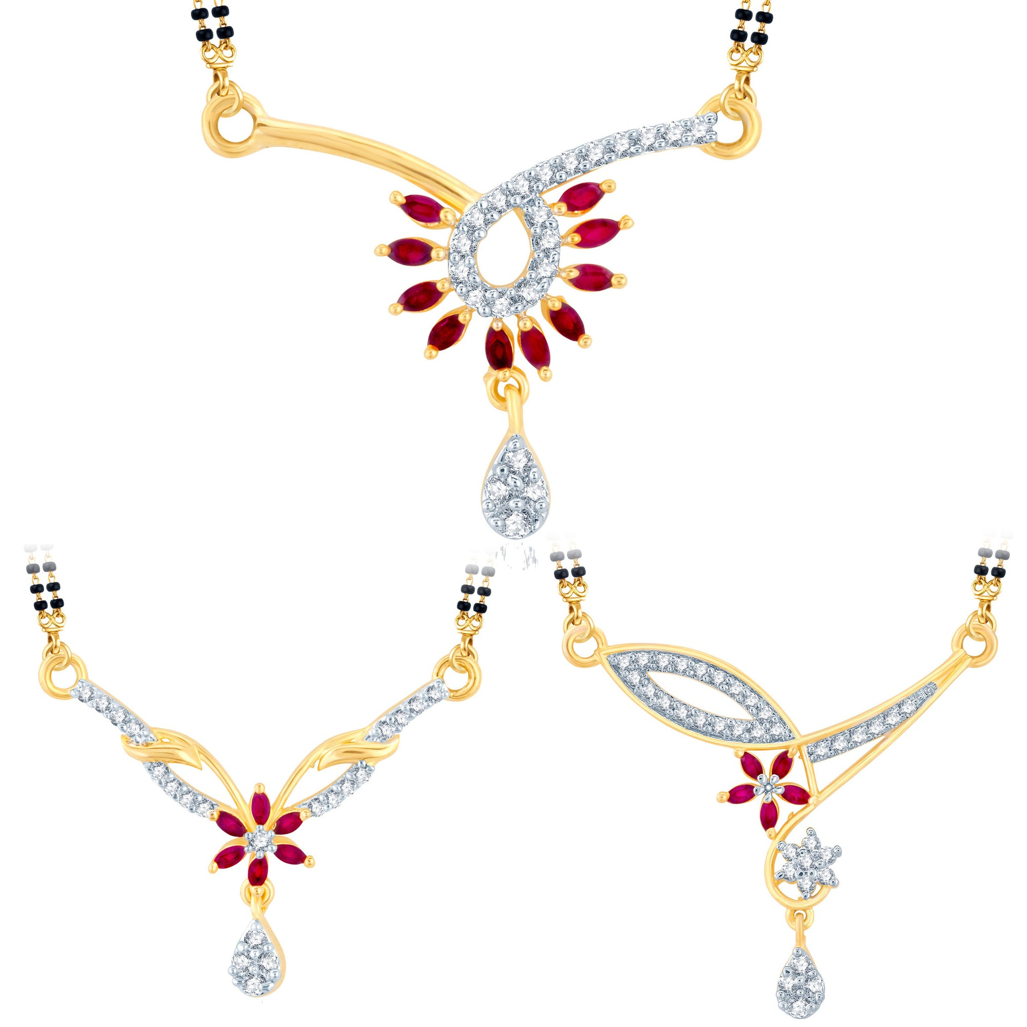 616bdb93aa Pissara Incredible Gold Plated CZ Set of 3 Mangalsutra Combo For Women