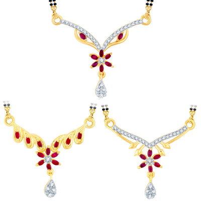 Pissara Stylish Gold Plated CZ Set of 3 Mangalsutra Combo For Women
