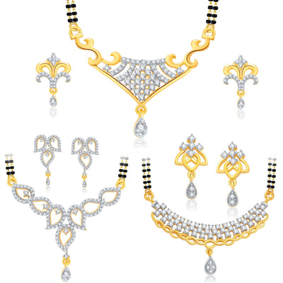 Pissara Astonish Gold Plated CZ Set of 3 Mangalsutra Set Combo For Women