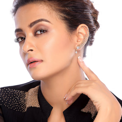 Sukkhi Surveen Chawla Collections Sublime Gold and Rhodium Plated Cubic Zirconia Stone Studded Ear cuff-1