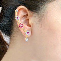 Pissara Modern Gold and Rhodium Plated Cubic Zirconia and Ruby Stone Studded Ear cuff